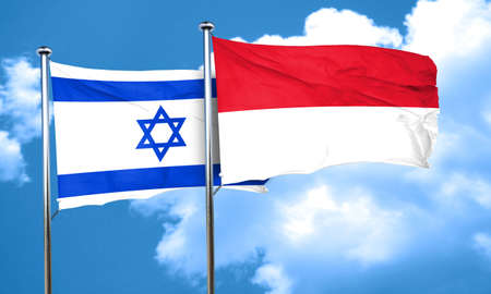 israel flag: Israel flag with Indonesia flag, 3D rendering