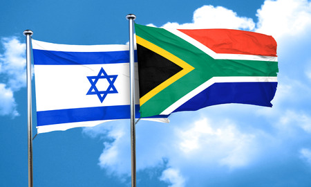 israel flag: Israel flag with South Africa flag, 3D rendering Stock Photo