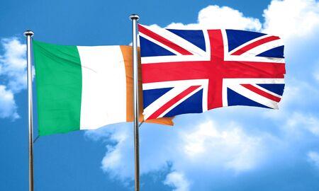 bandera de gran bretaña: Ireland flag with Great Britain flag, 3D rendering Foto de archivo