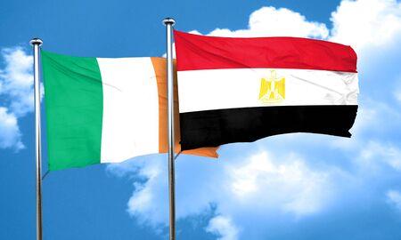 ireland flag: Ireland flag with egypt flag, 3D rendering Stock Photo