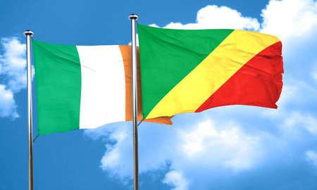 bandera irlanda: bandera de Irlanda con la bandera de congo, 3D Foto de archivo