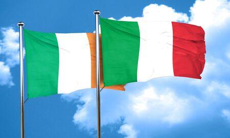 bandera de irlanda: bandera de Irlanda con la bandera de Italia, 3D Foto de archivo