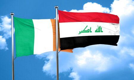 iraq flag: Ireland flag with Iraq flag, 3D rendering