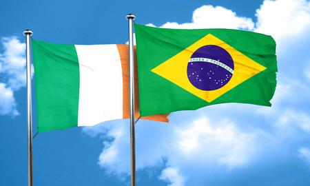 bandera de irlanda: Ireland flag with Brazil flag, 3D rendering Foto de archivo