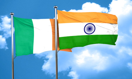 india 3d: Ireland flag with India flag, 3D rendering Stock Photo
