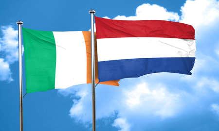 bandera irlanda: La bandera de Irlanda con la bandera de Pa�ses Bajos, 3D Foto de archivo