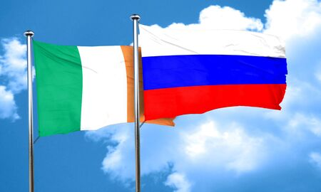 ireland flag: Ireland flag with Russia flag, 3D rendering