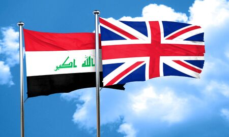 iraq flag: Iraq flag with Great Britain flag, 3D rendering