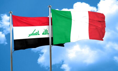 iraq flag: Iraq flag with Italy flag, 3D rendering