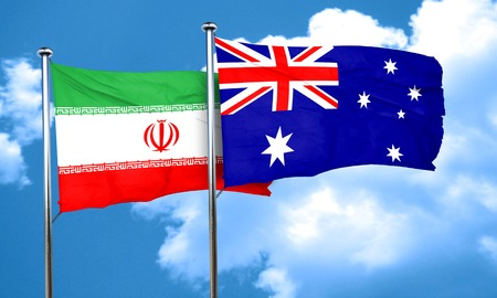 iran: iran flag with Australia flag, 3D rendering