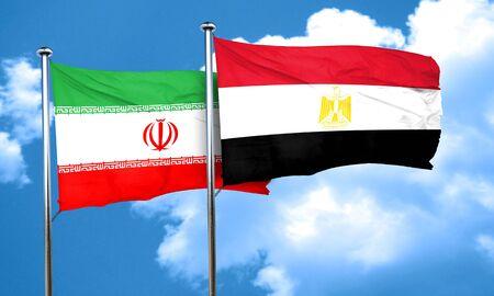 bandera de egipto: bandera de irán con la bandera de Egipto, 3D