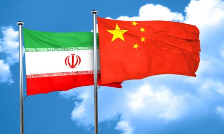 iran: iran flag with China flag, 3D rendering