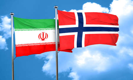norway flag: iran flag with Norway flag, 3D rendering Stock Photo