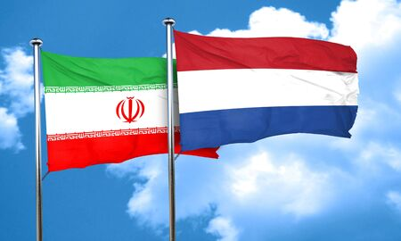iran: iran flag with Netherlands flag, 3D rendering