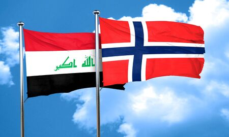 norway flag: Iraq flag with Norway flag, 3D rendering