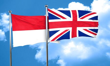great britain flag: Indonesia flag with Great Britain flag, 3D rendering