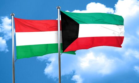 hungary: Hungary flag with Kuwait flag, 3D rendering