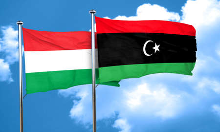 libya: Hungary flag with Libya flag, 3D rendering