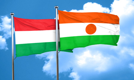 niger: Hungary flag with Niger flag, 3D rendering