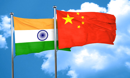 chinese flag: India flag with China flag, 3D rendering