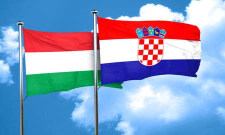 bandera de croacia: bandera de Hungría con la bandera de Croacia, 3D