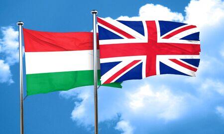 bandera de gran bretaña: bandera de Hungría con la bandera de Gran Bretaña, 3D