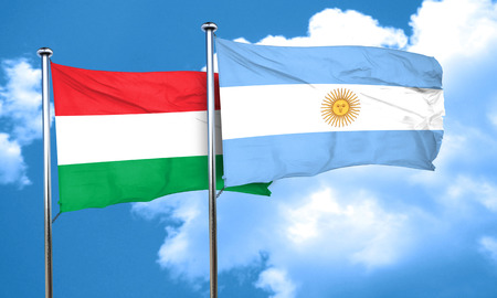 argentine: Hungary flag with Argentine flag, 3D rendering