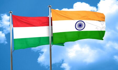 hungary: Hungary flag with India flag, 3D rendering