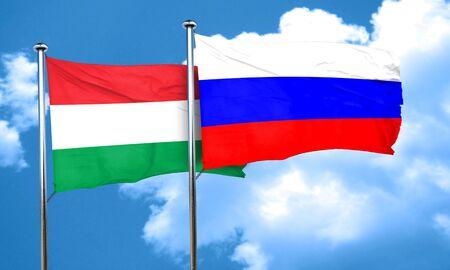 Bandiera Ungheria con la Russia la bandiera, il rendering 3D Archivio Fotografico - 58053380