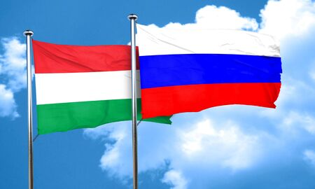 Hungary flag with Russia flag, 3D rendering