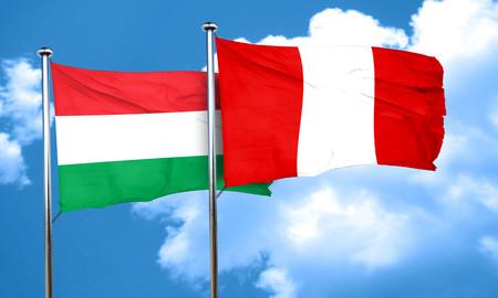 bandera peru: bandera de Hungr�a con la bandera de Per�, 3D