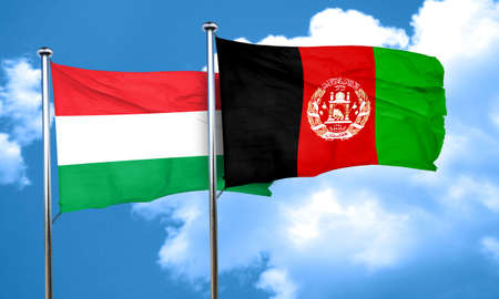afghanistan flag: Hungary flag with afghanistan flag, 3D rendering Stock Photo