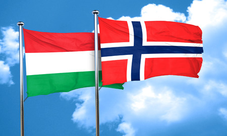 norway flag: Hungary flag with Norway flag, 3D rendering Stock Photo