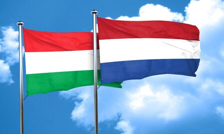 netherlands flag: Hungary flag with Netherlands flag, 3D rendering Stock Photo