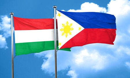 hungary: Hungary flag with Philippines flag, 3D rendering