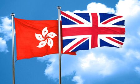 british culture: hong kong flag with Great Britain flag, 3D rendering