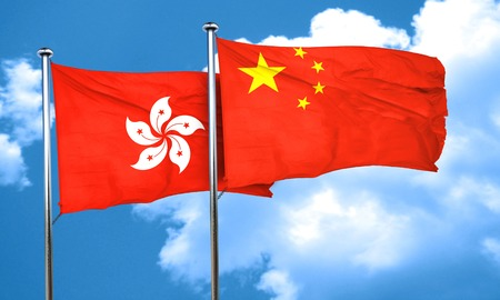 chinese flag: hong kong flag with China flag, 3D rendering