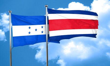 bandera honduras: bandera de Honduras con la bandera de Costa Rica, 3D