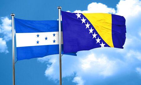 herzegovina: Honduras flag with Bosnia and Herzegovina flag, 3D rendering