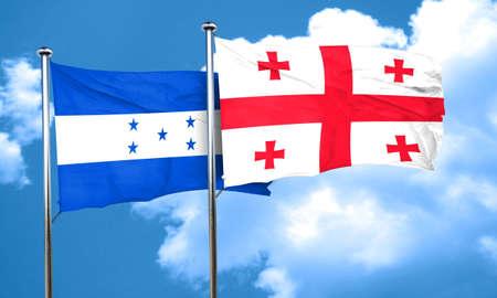 honduras: Honduras flag with Georgia flag, 3D rendering