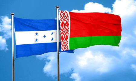 bandera honduras: bandera de Honduras con la bandera de Bielorrusia, 3D