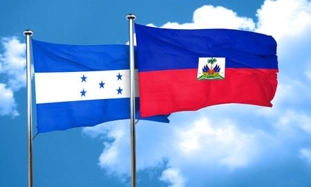 bandera honduras: bandera de Honduras con la bandera de Hait�, 3D Foto de archivo
