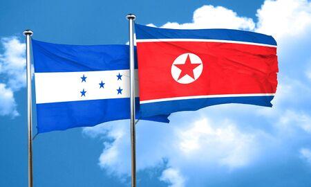 bandera de honduras: bandera de Honduras con la bandera de Corea del Norte, 3D