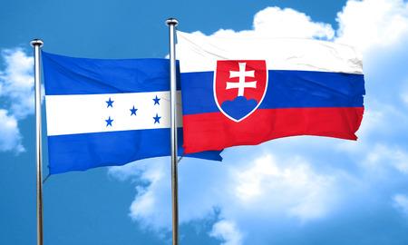 bandera de honduras: bandera de Honduras con la bandera de Eslovaquia, 3D