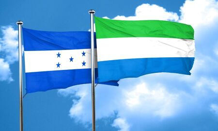 bandera honduras: bandera de Honduras con la bandera de Sierra Leona, 3D Foto de archivo