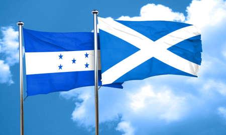 bandera honduras: bandera de Honduras con la bandera de Escocia, 3D
