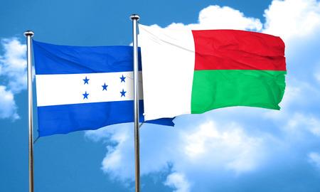bandera de honduras: bandera de Honduras con la bandera de Madagascar, 3D Foto de archivo
