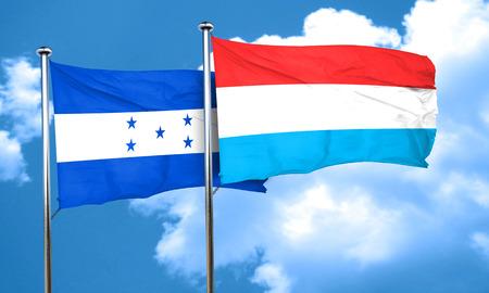 bandera de honduras: bandera de Honduras con la bandera de Luxemburgo, 3D