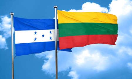 bandera honduras: bandera de Honduras con la bandera de Lituania, 3D