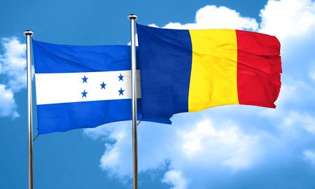 bandera de honduras: bandera de Honduras con la bandera de Rumania, 3D Foto de archivo